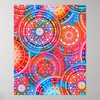 Bright Bohemian Boho Hippy Chic Pattern Poster