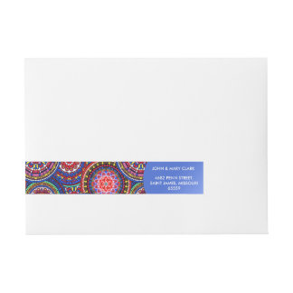 Bright Bohemian Boho Hippy Chic Pattern Wraparound Address Label