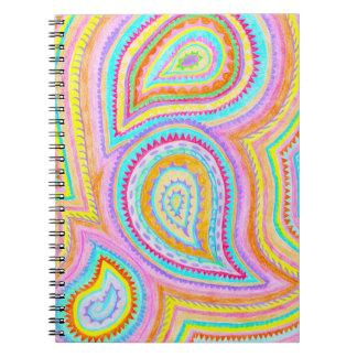 Bright Bohemian Paisley Retro Pattern Notebook