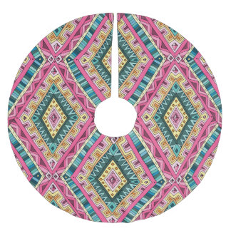 Bright Boho Colorful abstract tribal pattern Brushed Polyester Tree Skirt