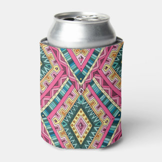 Bright Boho Colorful abstract tribal pattern Can Cooler