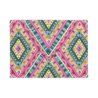 Bright Boho Colorful abstract tribal pattern Doormat