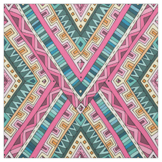 Bright Boho Colorful abstract tribal pattern Fabric
