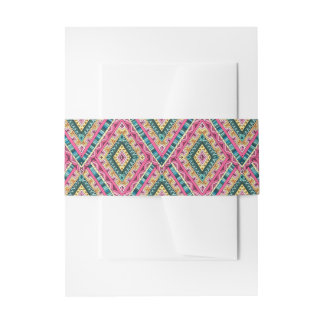 Bright Boho Colorful abstract tribal pattern Invitation Belly Band