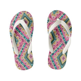 Bright Boho Colorful abstract tribal pattern Kid's Thongs