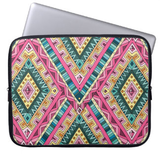 Bright Boho Colorful abstract tribal pattern Laptop Sleeve