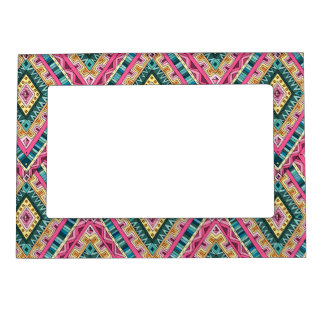 Bright Boho Colorful abstract tribal pattern Magnetic Picture Frame