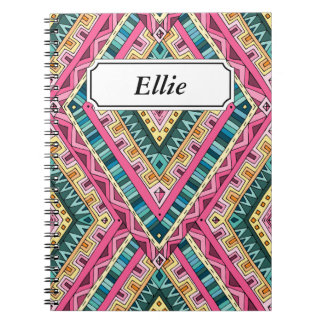 Bright Boho Colorful abstract tribal pattern Notebook