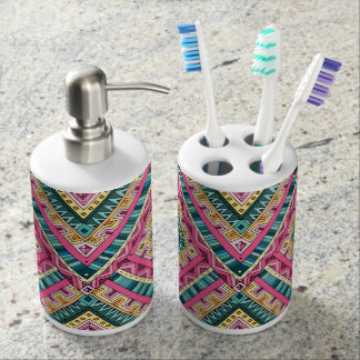 Bright Boho Colorful abstract tribal pattern Soap Dispenser And Toothbrush Holder
