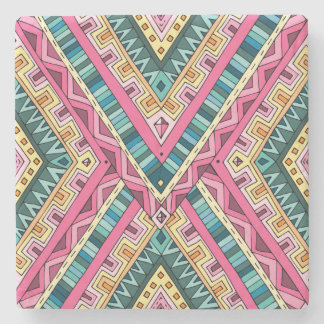 Bright Boho Colorful abstract tribal pattern Stone Coaster