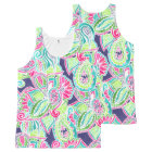 Bright Boho paisley pink blue green watercolor All-Over Print Singlet
