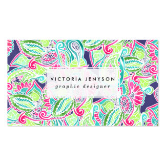 Bright Boho paisley pink blue green watercolor Pack Of Standard Business Cards