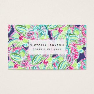 Bright Boho paisley pink blue green watercolor Business Card