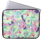 Bright Boho paisley pink blue green watercolor Laptop Sleeve