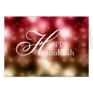 Bright Bokeh Lights 1 Happy Hanukkah Greeting Card