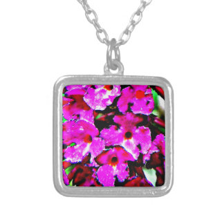 Bright Bold Abstract Floral Square Pendant Necklace