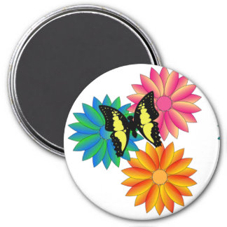 Bright Bold Colorful Butterfly Flowers  Magnet