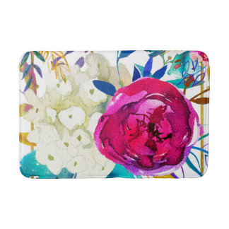 Bright Bold Colorful Floral Modern Botanical Bath Mat