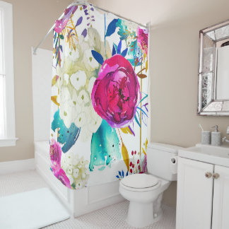 Bright Bold Colorful Floral Modern Botanical Chic Shower Curtain