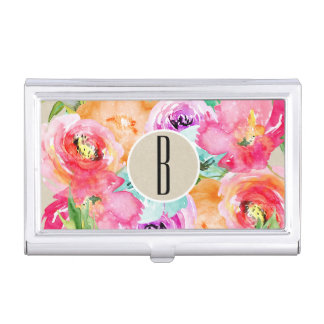 Bright Bold Colorful Floral Modern Botanical Kraft Business Card Holder