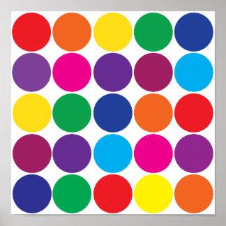 Bright Bold Colorful Rainbow Circles Polka Dots Poster
