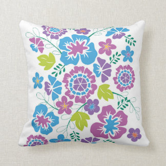 Bright, Bold Floral Design in Blue and Teal Pillow