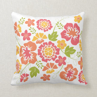 Bright, Bold Floral Design in Coral and Orange Cushion