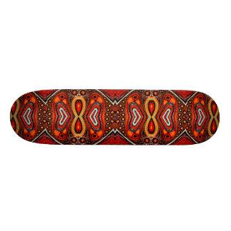 Bright bold red gold tribal hybridworld skateboard