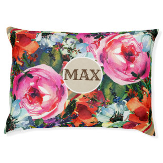 Bright Bold Watercolor Floral Vintage Chic Flowers Pet Bed