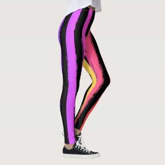 Bright Brush Stroke Stripes Pink Orange Purple Leggings