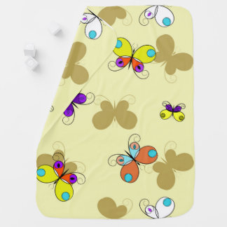 Bright Butterflies on yellow | Cartoon style Baby Blanket