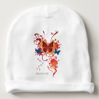 Bright butterfly collection with splashes baby beanie