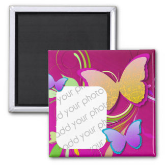 Bright Butterfly/ Custom Photo Square Magnet