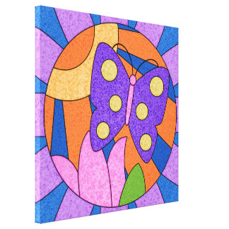 Bright Butterfly Faux Stained Glass Window Canvas Canvas Print