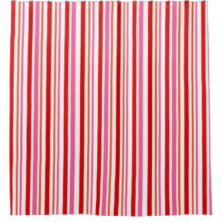 Bright Candy Cane Striped Pattern Shower Curtain