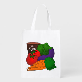 Bright Cartoon Vegetables Go Vegan Reusable Grocery Bag