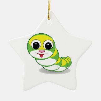 bright caterpillar worm ceramic ornament