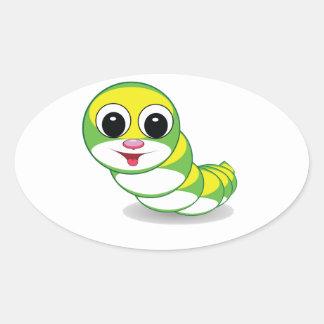 bright caterpillar worm oval sticker