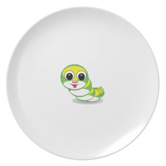 bright caterpillar worm party plate