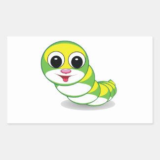 bright caterpillar worm rectangular sticker