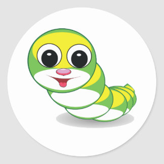 bright caterpillar worm round sticker