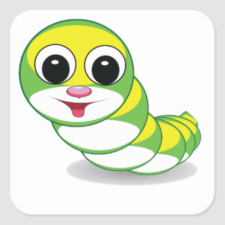 bright caterpillar worm square sticker
