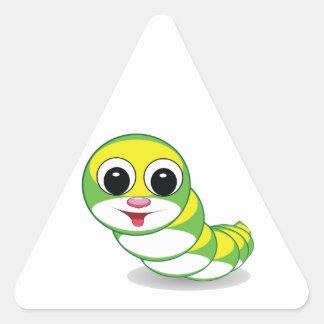 bright caterpillar worm triangle sticker