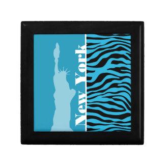 Bright Cerulean Zebra Animal Print; New York Gift Boxes