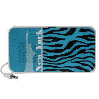Bright Cerulean Zebra Animal Print; New York Notebook Speakers