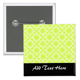 Bright Chartreuse Day Glow Geometric Pattern 15 Cm Square Badge