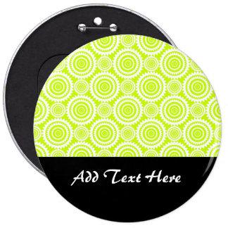 Bright Chartreuse Day Glow Geometric Pattern Pinback Buttons