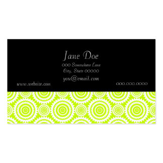 Bright Chartreuse Day Glow Geometric Pattern Business Card Template