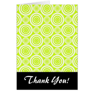 Bright Chartreuse Day Glow Geometric Pattern Card