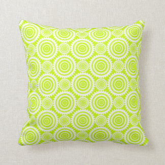 Bright Chartreuse Day Glow Geometric Pattern Throw Pillow
